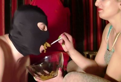 Mistress feed slave her shit